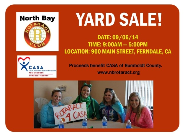 Join us Saturday 9/6/14 for Bargain Lovers' Weekend in Ferndale! We are having a yard sale and the proceeds benefit CASA of Humboldt.