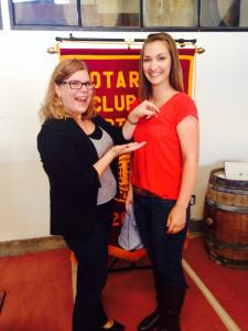8/20/14: Mariah Lewis gets pinned as an official North Bay Rotaractor!